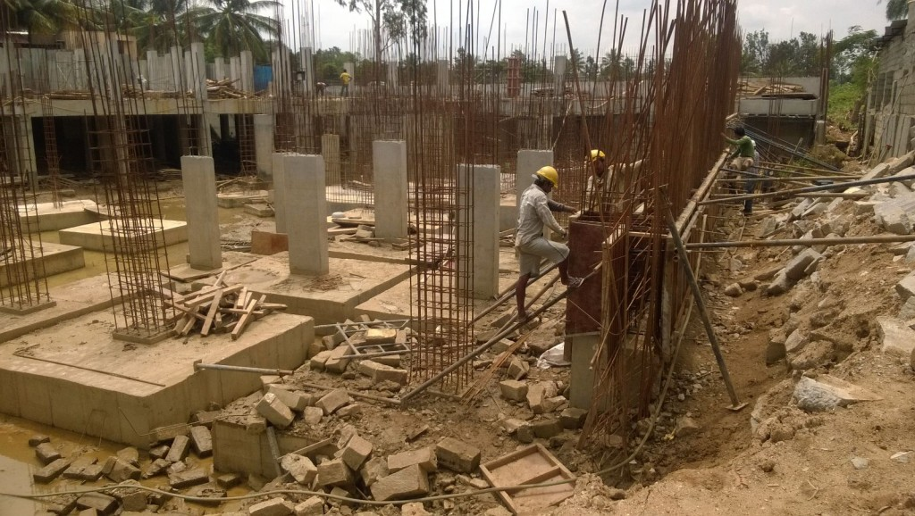 West Side retaining wall concreting